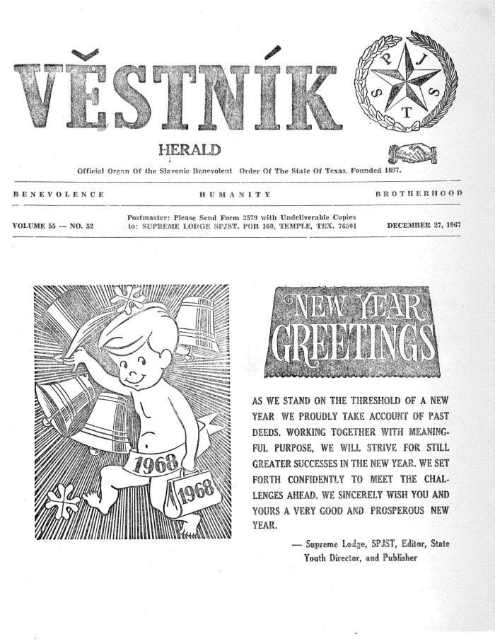 Věstník (West, Tex.), Vol. 55, No. 52, Ed. 1 Wednesday, December 27 ...