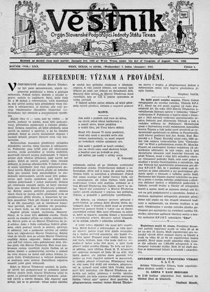 Primary view of object titled 'Věstník (West, Tex.), Vol. 30, No. 1, Ed. 1 Wednesday, January 7, 1942'.