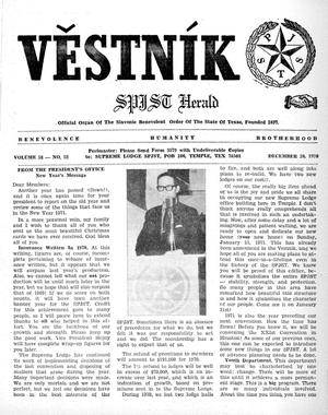 Primary view of object titled 'Věstník (West, Tex.), Vol. 58, No. 52, Ed. 1 Wednesday, December 30, 1970'.