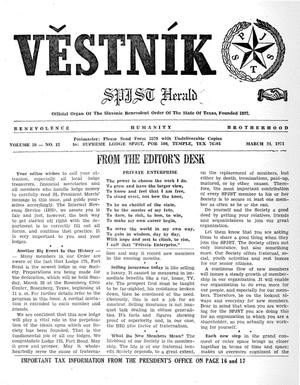 Primary view of object titled 'Věstník (West, Tex.), Vol. 59, No. 12, Ed. 1 Wednesday, March 24, 1971'.