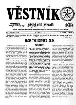 Primary view of object titled 'Věstník (West, Tex.), Vol. 67, No. 14, Ed. 1 Wednesday, April 4, 1979'.
