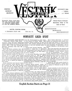Primary view of object titled 'Věstník (West, Tex.), Vol. 48, No. 26, Ed. 1 Wednesday, July 6, 1960'.
