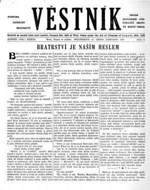 Primary view of object titled 'Věstník (West, Tex.), Vol. 39, No. 5, Ed. 1 Wednesday, January 31, 1951'.