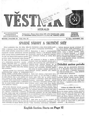 Primary view of object titled 'Věstník (West, Tex.), Vol. 50, No. 43, Ed. 1 Wednesday, October 24, 1962'.