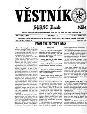 Primary view of object titled 'Věstník (West, Tex.), Vol. 63, No. 17, Ed. 1 Wednesday, April 23, 1975'.