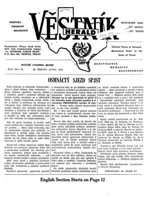 Primary view of object titled 'Věstník (West, Tex.), Vol. 48, No. 25, Ed. 1 Wednesday, June 29, 1960'.