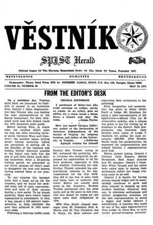 Primary view of object titled 'Věstník (West, Tex.), Vol. 63, No. 20, Ed. 1 Wednesday, May 14, 1975'.