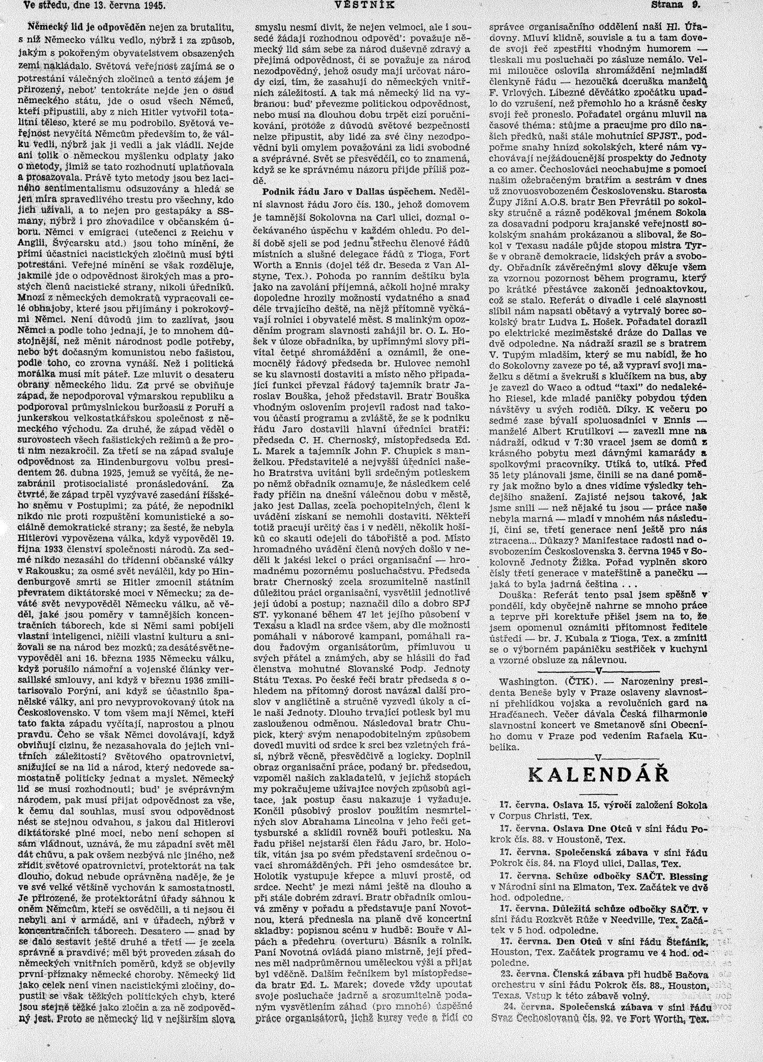 slavnostní proslov k narozeninám Věstník (West, Tex.), Vol. 33, No. 24, Ed. 1 Wednesday, June 13  slavnostní proslov k narozeninám