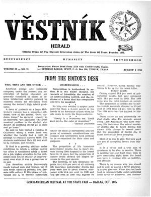 Primary view of object titled 'Věstník (West, Tex.), Vol. 53, No. 31, Ed. 1 Wednesday, August 4, 1965'.