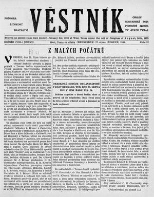 Primary view of object titled 'Věstník (West, Tex.), Vol. 37, No. 33, Ed. 1 Wednesday, August 17, 1949'.