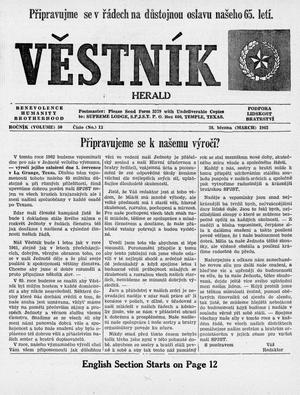 Primary view of object titled 'Věstník (West, Tex.), Vol. 50, No. 13, Ed. 1 Wednesday, March 28, 1962'.