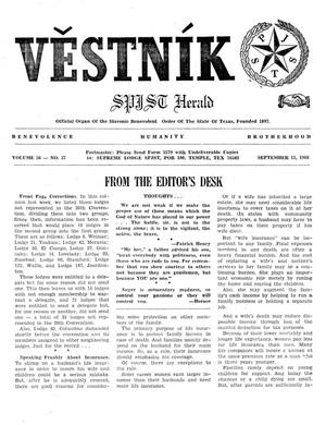 Primary view of object titled 'Věstník (West, Tex.), Vol. 56, No. 37, Ed. 1 Wednesday, September 11, 1968'.