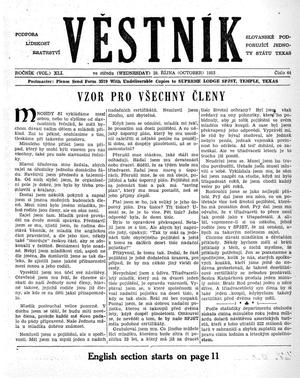 Primary view of object titled 'Věstník (West, Tex.), Vol. 41, No. 44, Ed. 1 Wednesday, October 28, 1953'.