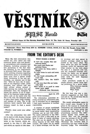 Primary view of object titled 'Věstník (West, Tex.), Vol. 63, No. 2, Ed. 1 Wednesday, January 8, 1975'.