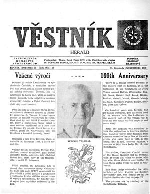 Primary view of object titled 'Věstník (West, Tex.), Vol. 50, No. 47, Ed. 1 Wednesday, November 21, 1962'.