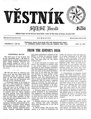 Primary view of object titled 'Věstník (West, Tex.), Vol. 56, No. 22, Ed. 1 Wednesday, May 29, 1968'.