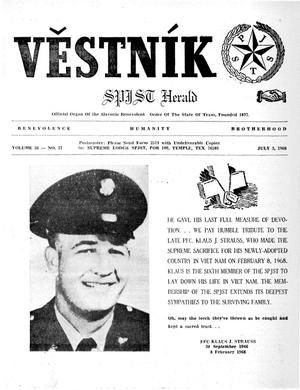 Primary view of object titled 'Věstník (West, Tex.), Vol. 56, No. 27, Ed. 1 Wednesday, July 3, 1968'.