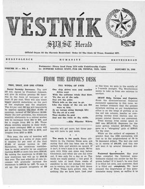 Primary view of object titled 'Věstník (West, Tex.), Vol. 56, No. 4, Ed. 1 Wednesday, January 24, 1968'.