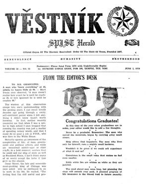 Primary view of object titled 'Věstník (West, Tex.), Vol. 58, No. 22, Ed. 1 Wednesday, June 3, 1970'.