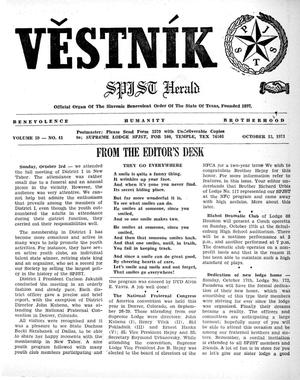 Primary view of object titled 'Věstník (West, Tex.), Vol. 59, No. 41, Ed. 1 Wednesday, October 13, 1971'.