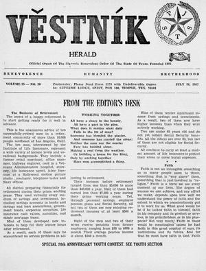 Primary view of object titled 'Věstník (West, Tex.), Vol. 55, No. 30, Ed. 1 Wednesday, July 26, 1967'.