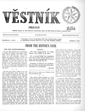 Primary view of object titled 'Věstník (West, Tex.), Vol. 54, No. 9, Ed. 1 Wednesday, March 2, 1966'.