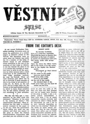 Primary view of object titled 'Věstník (West, Tex.), Vol. 65, No. 6, Ed. 1 Wednesday, February 9, 1977'.