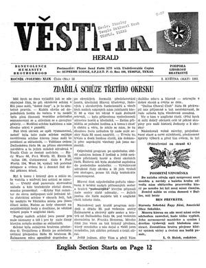 Primary view of object titled 'Věstník (West, Tex.), Vol. 49, No. 18, Ed. 1 Wednesday, May 3, 1961'.