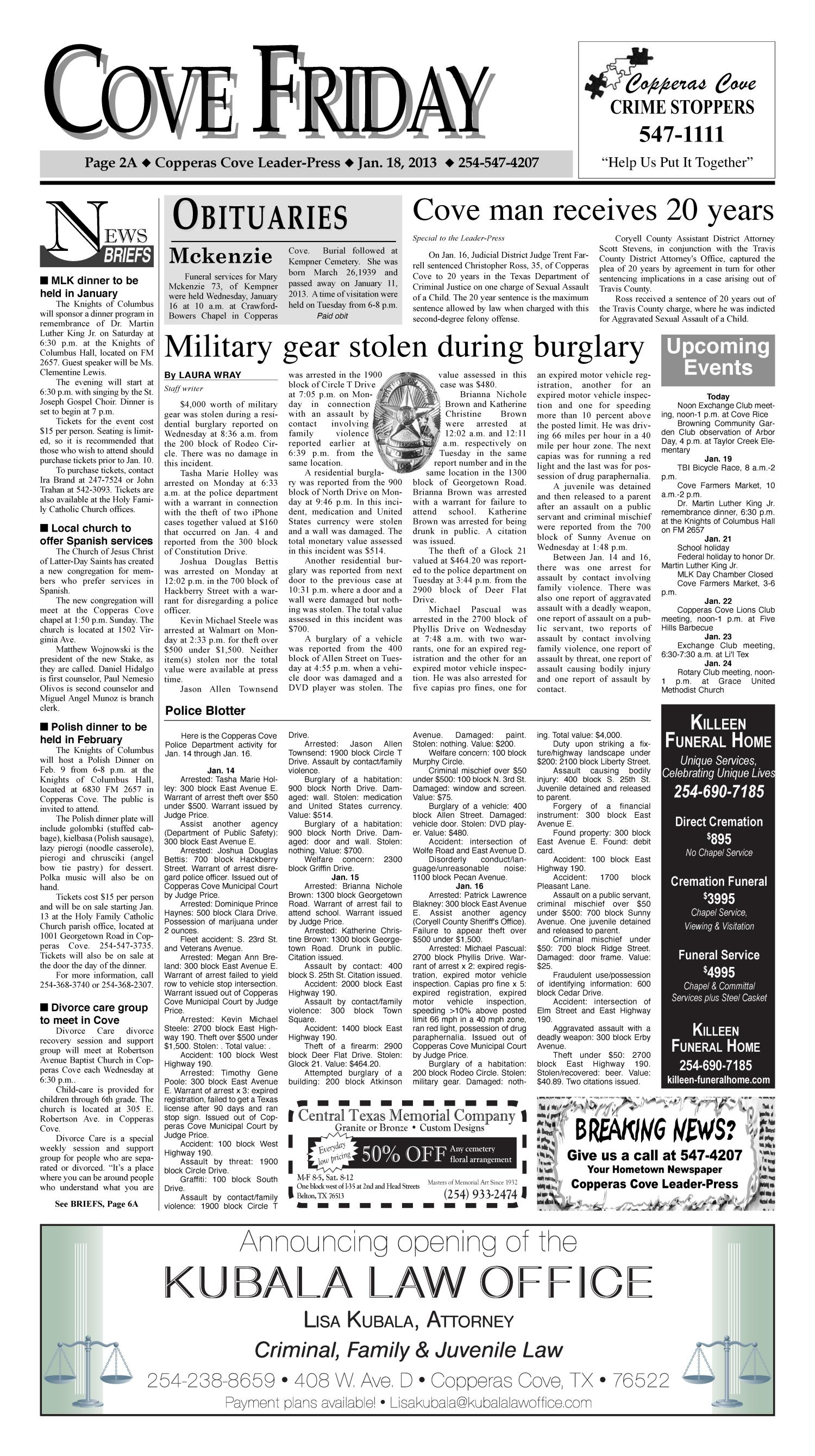 Copperas Cove Leader-Press (Copperas Cove, Tex.), Vol. 118, No. 31, Ed. 1 Friday, January 18, 2013                                                                                                      [Sequence #]: 2 of 14