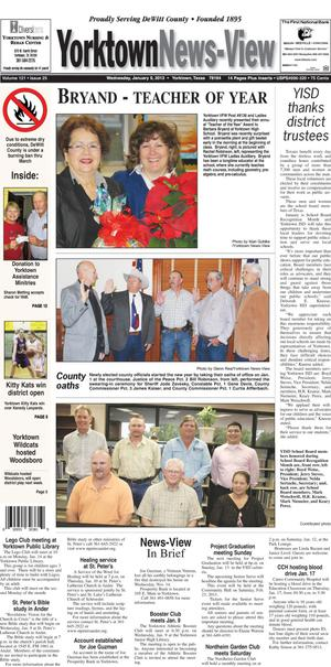 Primary view of Yorktown News-View (Yorktown, Tex.), Vol. 121, No. 25, Ed. 1 Wednesday, January 9, 2013