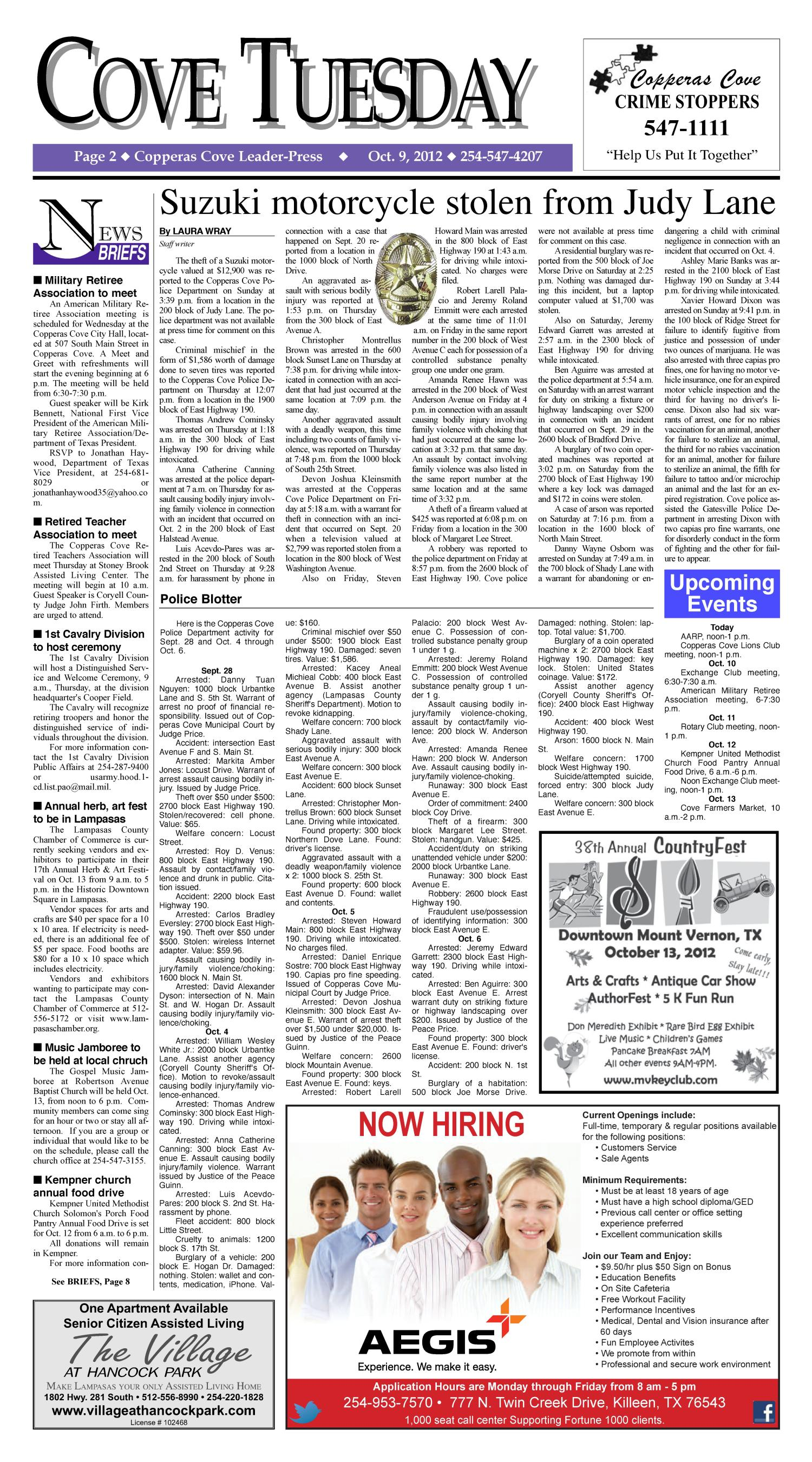 Copperas Cove Leader-Press (Copperas Cove, Tex.), Vol. 118, No. 2, Ed. 1 Tuesday, October 9, 2012                                                                                                      [Sequence #]: 2 of 10