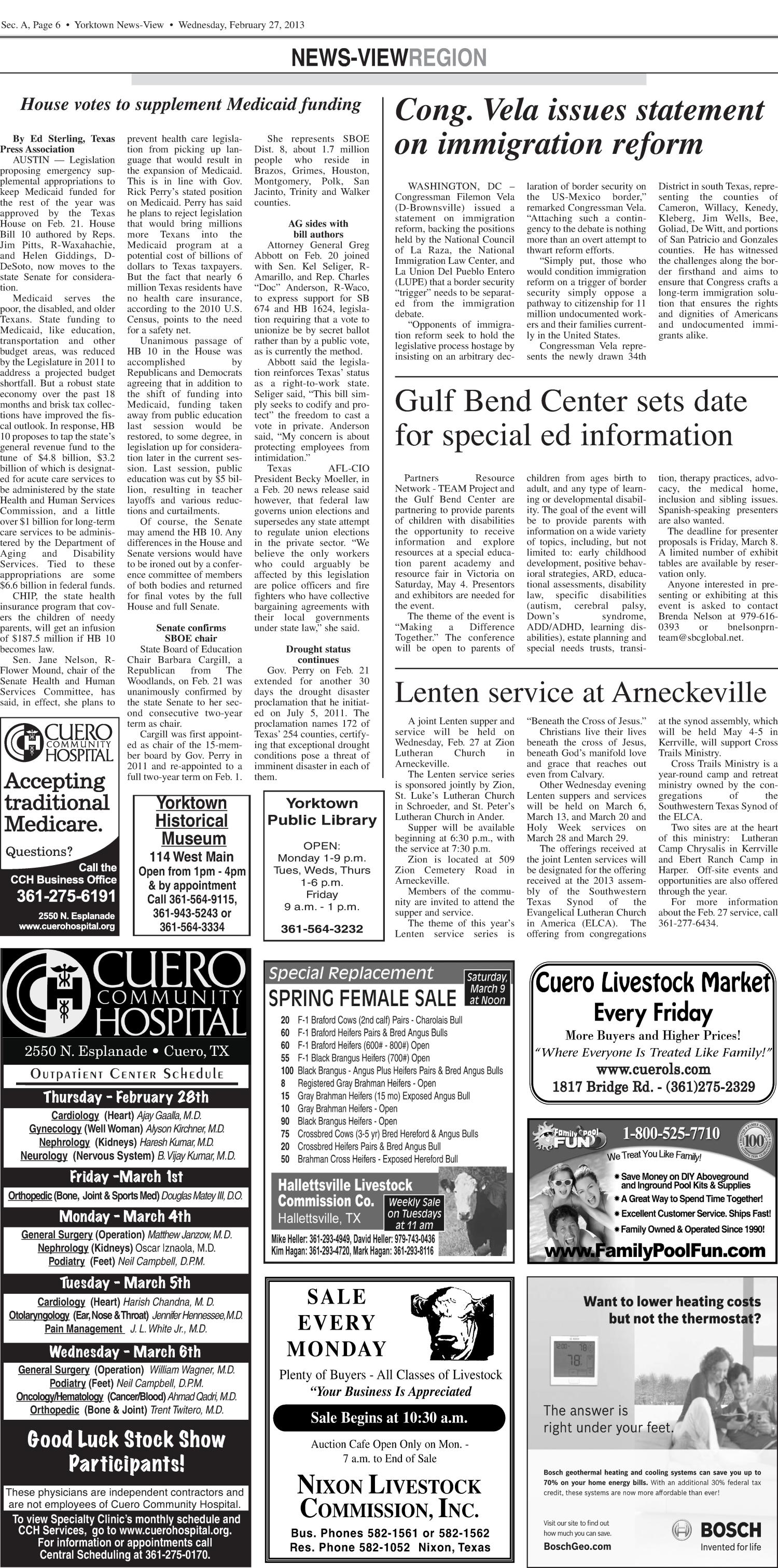 Yorktown News-View (Yorktown, Tex.), Vol. 121, No. 32, Ed. 1 Wednesday, February 27, 2013                                                                                                      [Sequence #]: 6 of 14