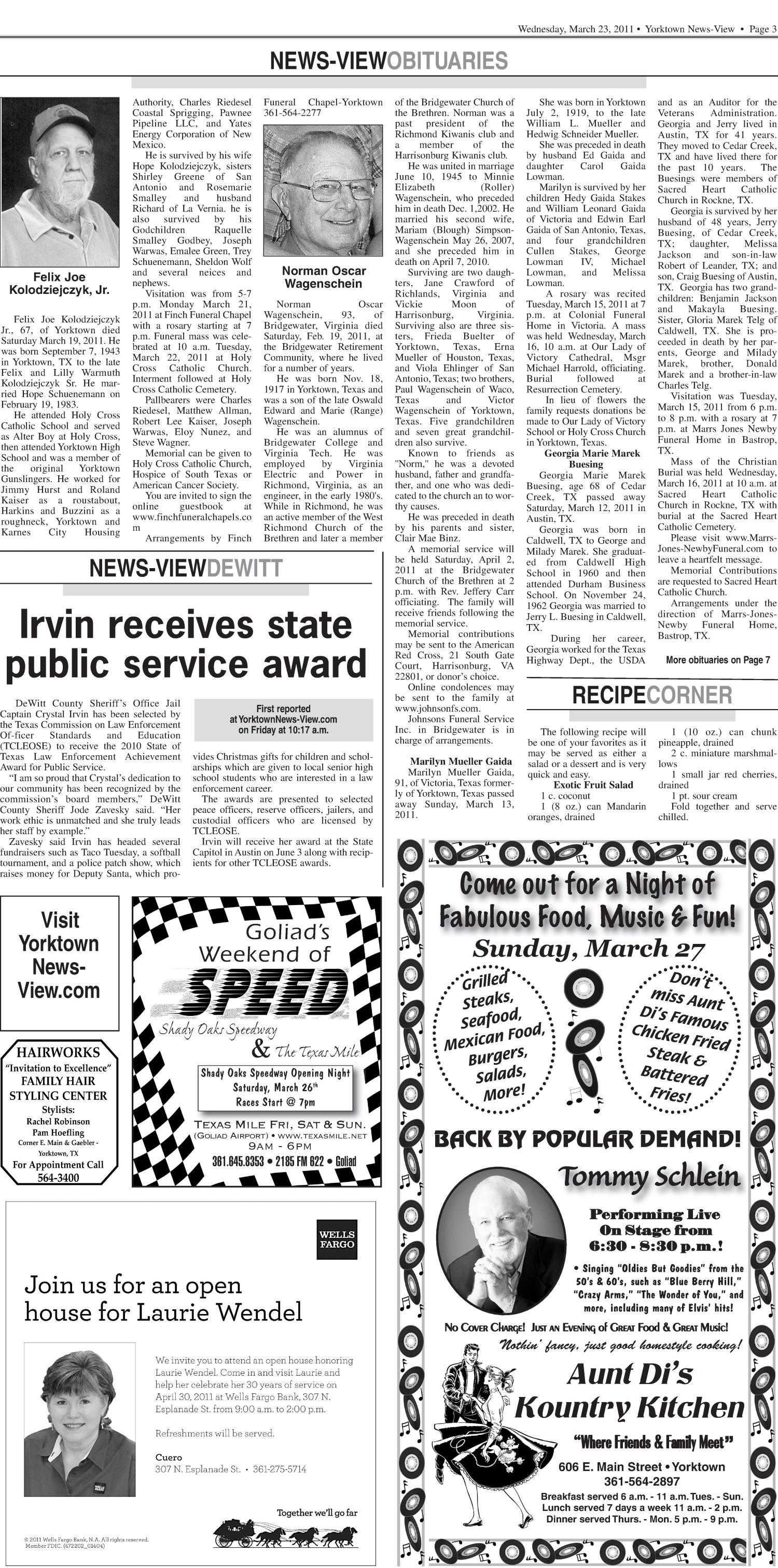 Yorktown News-View (Yorktown, Tex.), Vol. 119, No. 36, Ed. 1 Wednesday, March 23, 2011                                                                                                      [Sequence #]: 3 of 14