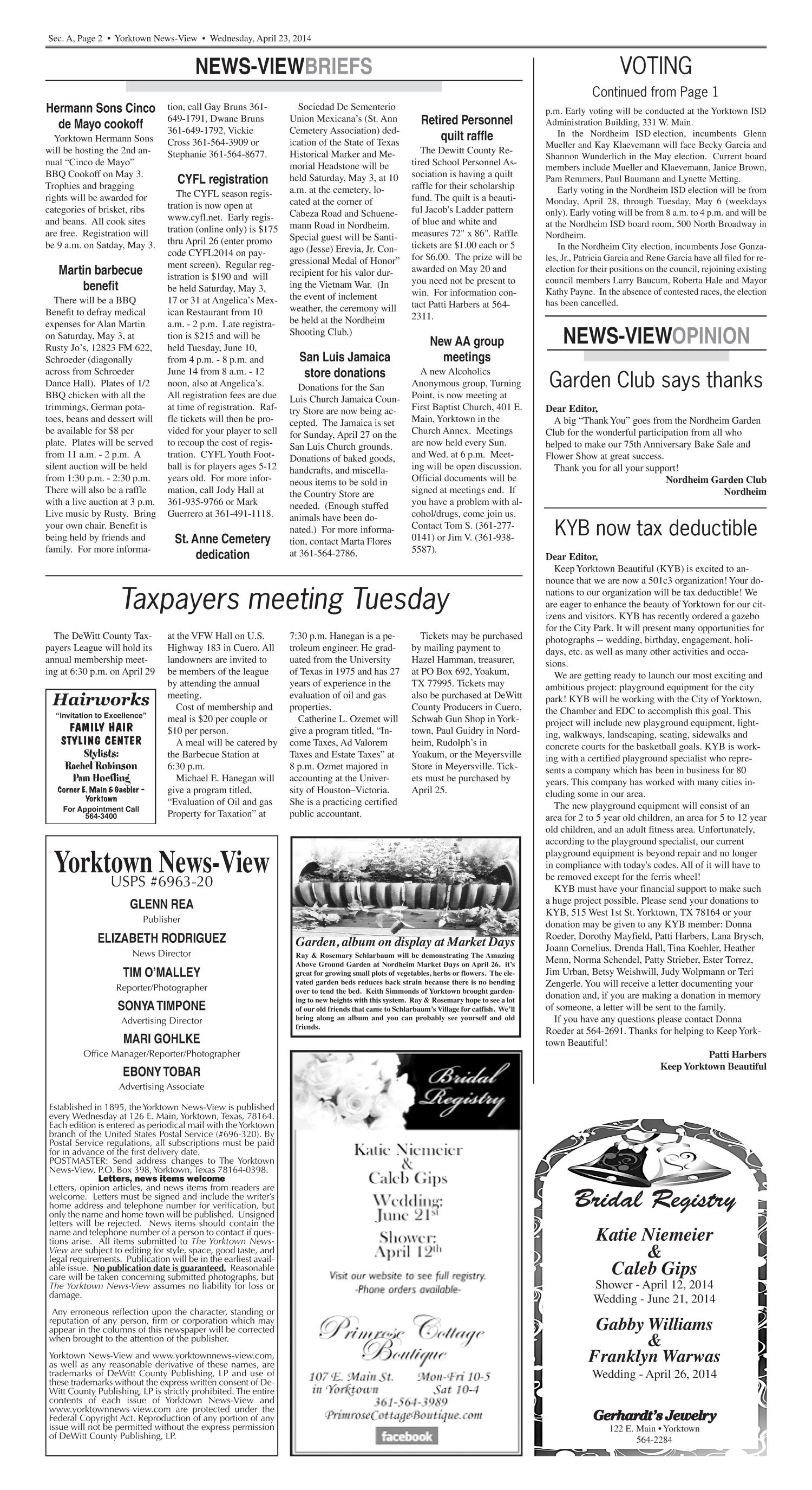 Yorktown News-View (Yorktown, Tex.), Vol. 122, No. 40, Ed. 1 Wednesday, April 23, 2014                                                                                                      [Sequence #]: 2 of 18