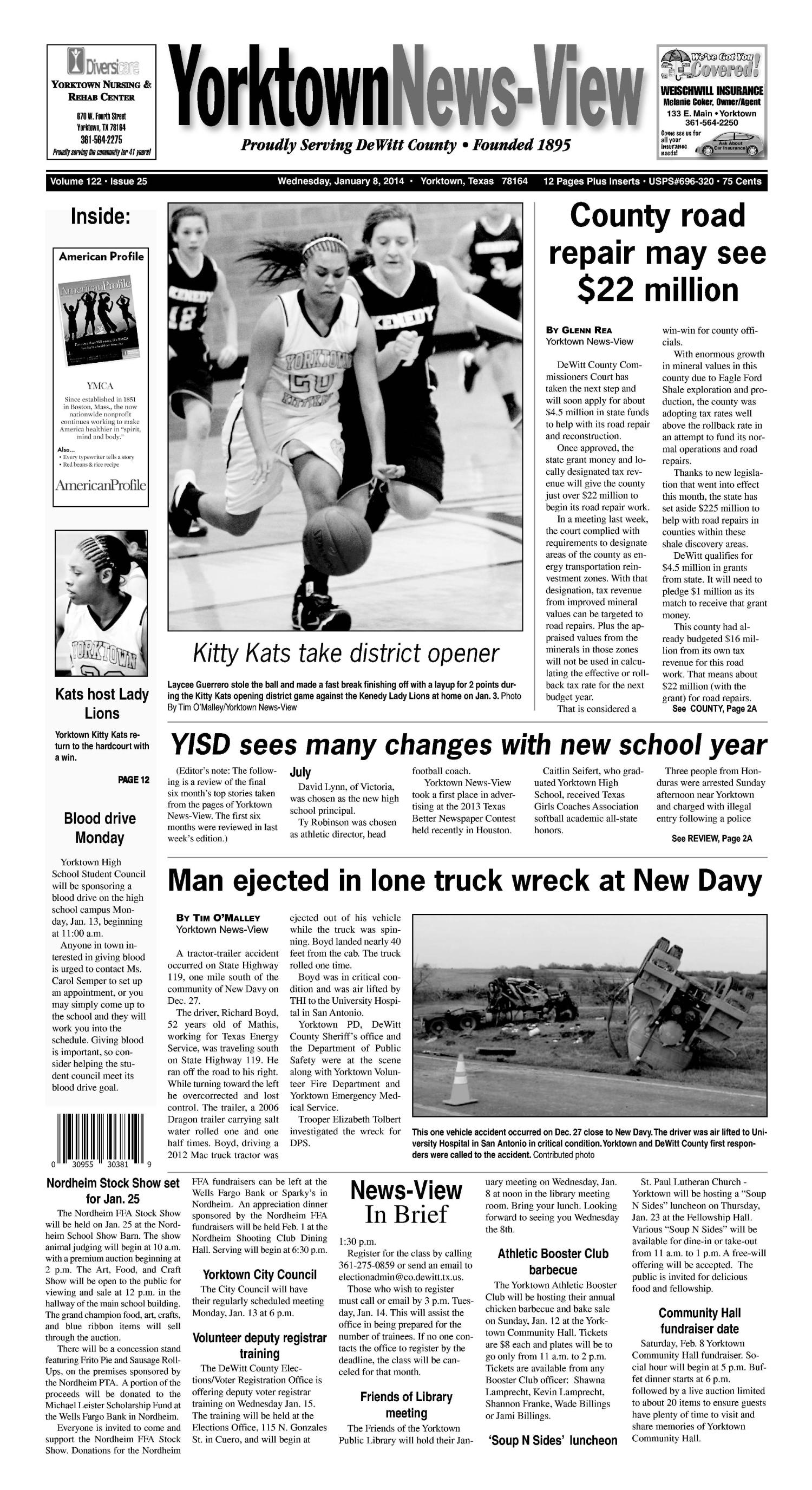 Yorktown News-View (Yorktown, Tex.), Vol. 122, No. 25, Ed. 1 Wednesday, January 8, 2014                                                                                                      [Sequence #]: 1 of 12