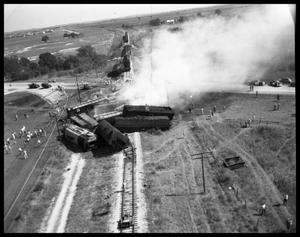 Primary view of object titled 'Aerial Photograph of Train Wreck at San Marcos'.