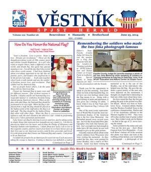 Primary view of object titled 'Věstník (Temple, Tex.), Vol. 102, No. 26, Ed. 1 Wednesday, June 25, 2014'.