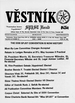 Primary view of object titled 'Věstník (West, Tex.), Vol. 68, No. 25, Ed. 1 Wednesday, June 18, 1980'.