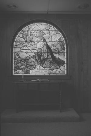 Primary view of object titled '[Stained Glass at First United Methodist Church]'.