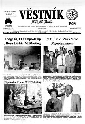 Primary view of object titled 'Věstník (Temple, Tex.), Vol. 74, No. 14, Ed. 1 Wednesday, April 2, 1986'.