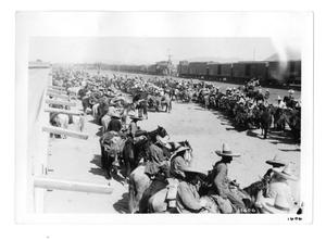 Primary view of object titled '[Insurrectos Waiting to Board a Train]'.