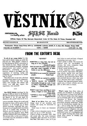 Primary view of object titled 'Věstník (West, Tex.), Vol. 68, No. 3, Ed. 1 Wednesday, January 16, 1980'.