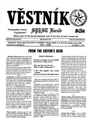 Primary view of object titled 'Věstník (West, Tex.), Vol. 68, No. 40, Ed. 1 Wednesday, October 1, 1980'.