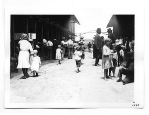 Primary view of object titled '[Mormon Refugees in Lumber Yard]'.
