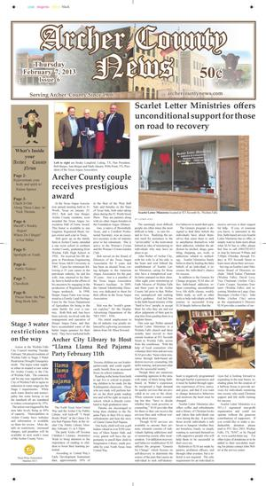 Primary view of object titled 'Archer County News (Archer City, Tex.), Vol. 105, No. 6, Ed. 1 Thursday, February 7, 2013'.