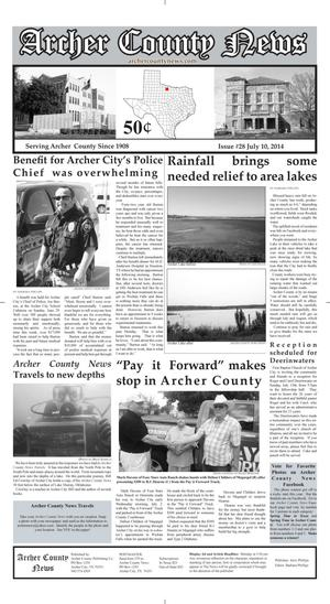 Primary view of object titled 'Archer County News (Archer City, Tex.), Vol. 106, No. 28, Ed. 1 Thursday, July 10, 2014'.