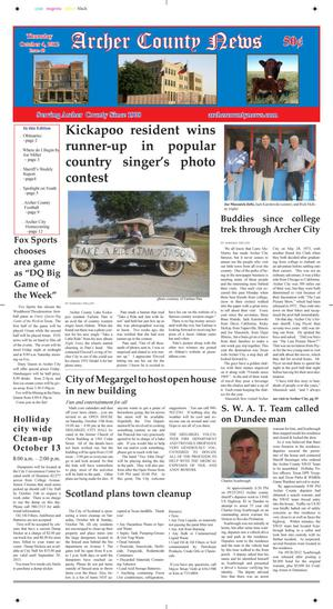 Primary view of object titled 'Archer County News (Archer City, Tex.), Vol. 104, No. 40, Ed. 1 Thursday, October 4, 2012'.