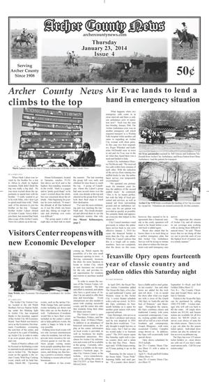 Primary view of object titled 'Archer County News (Archer City, Tex.), Vol. 106, No. 4, Ed. 1 Thursday, January 23, 2014'.