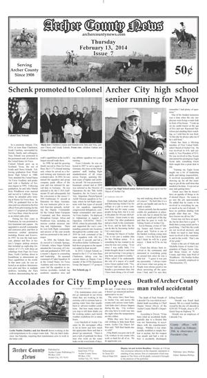 Primary view of object titled 'Archer County News (Archer City, Tex.), Vol. 106, No. 7, Ed. 1 Thursday, February 13, 2014'.
