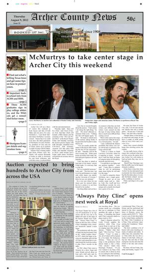 Primary view of object titled 'Archer County News (Archer City, Tex.), Vol. 104, No. 32, Ed. 1 Thursday, August 9, 2012'.